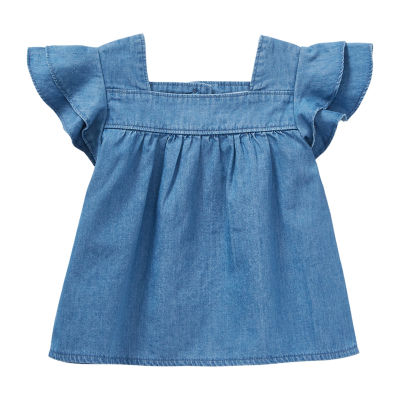 Okie Dokie Baby Girls Square Neck Short Sleeve Peasant Top