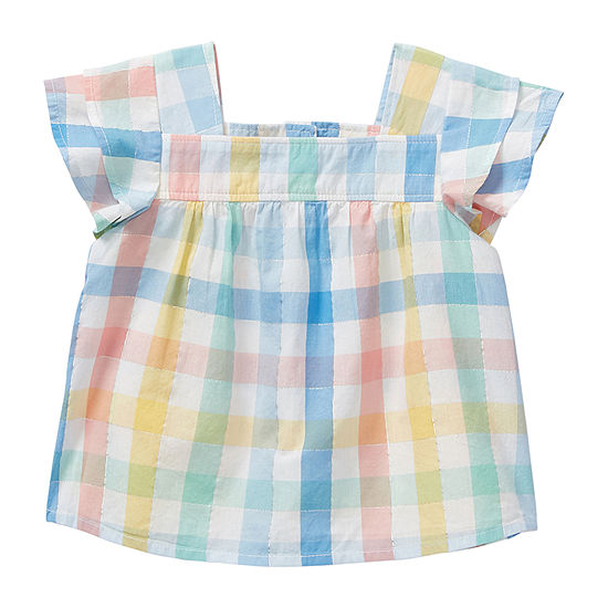 Okie Dokie Girls Square Neck Short Sleeve Peasant Top - Baby