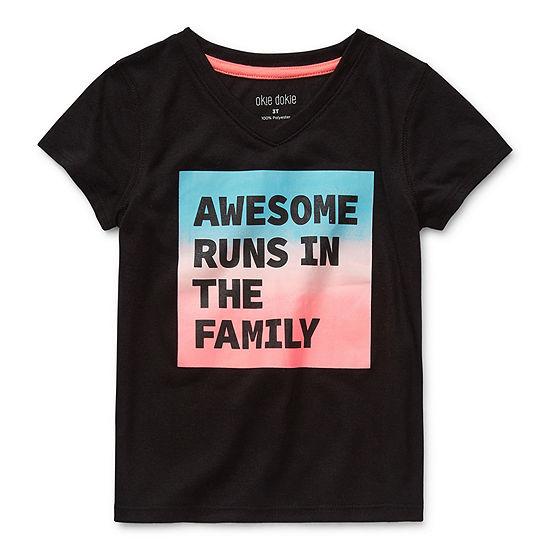 Okie Dokie-Toddler Girls V Neck Short Sleeve Graphic T-Shirt