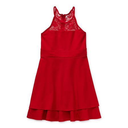Emerald Gumdrops Big Girls Sleeveless Skater Dress, 14 , Red