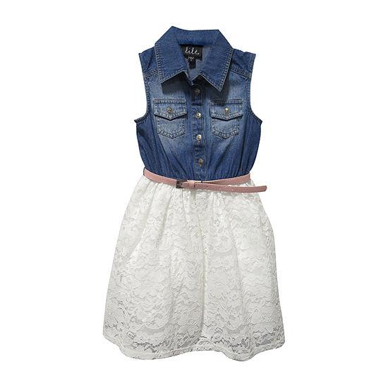 Lilt Little & Big Girls Belted Sleeveless Shirt Dress