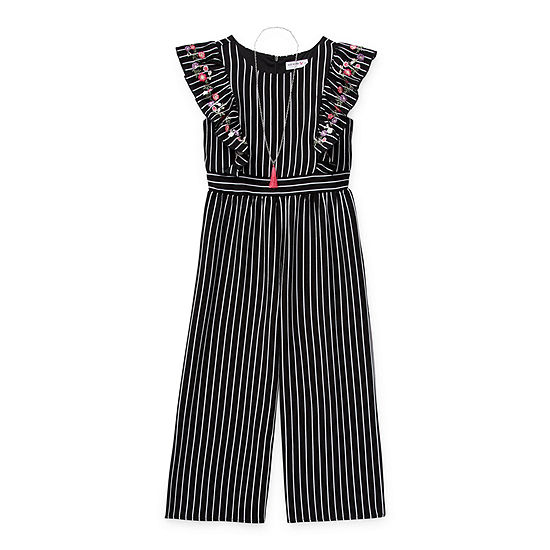 Knit Works Big Girls Sleeveless Embroidered Jumpsuit