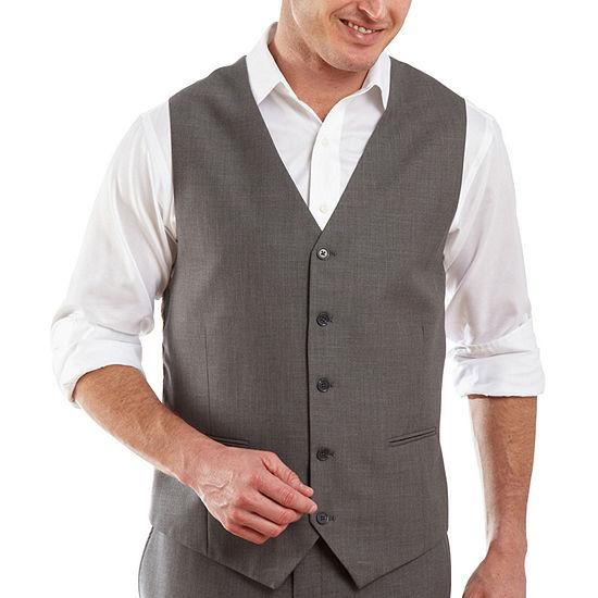 JF J. Ferrar® Gray Sharkskin Vest - Classic