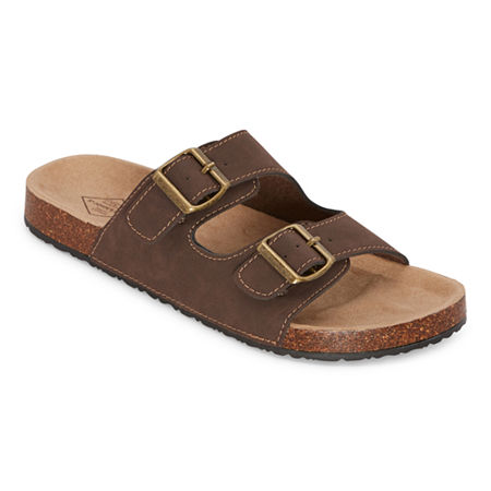 Mens Retro Shoes | Vintage Shoes & Boots St. Johns Bay Otto Mens Adjustable Strap Footbed Sandals 10 Medium Brown $34.99 AT vintagedancer.com