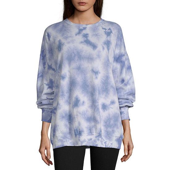 Flirtitude Womens Crew Neck Long Sleeve Tie Dye Pullover Sweatshirt - Juniors
