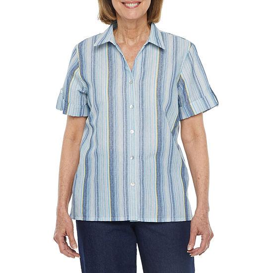 Alfred Dunner Classics Womens Short Sleeve Camp Shirt