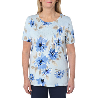 Cathy Daniels Picture Pretty Womens Scoop Neck Short Sleeve Floral Pullover Sweater