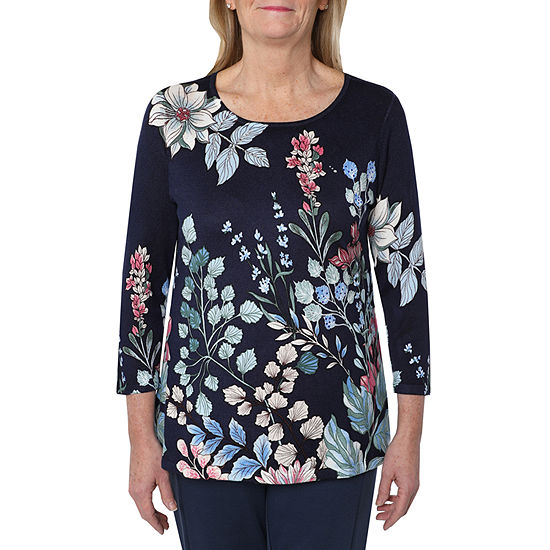 Cathy Daniels Picture Pretty Womens Scoop Neck 3/4 Sleeve Floral Pullover Sweater