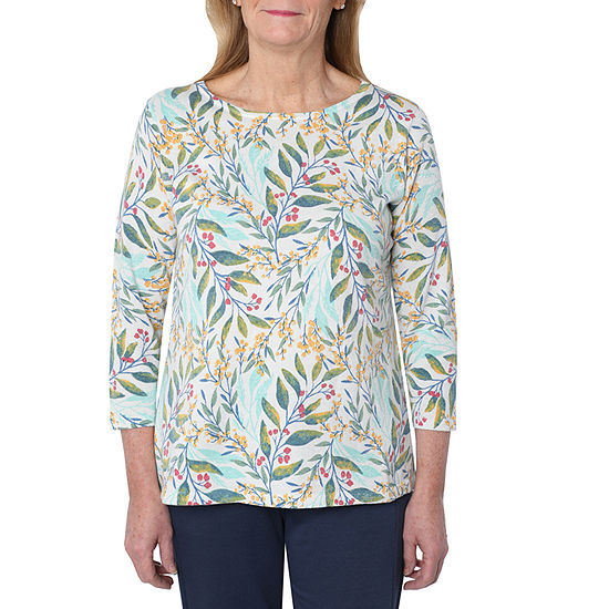 Cathy Daniels Picture Pretty Womens Scoop Neck 3/4 Sleeve Leaf Pullover Sweater