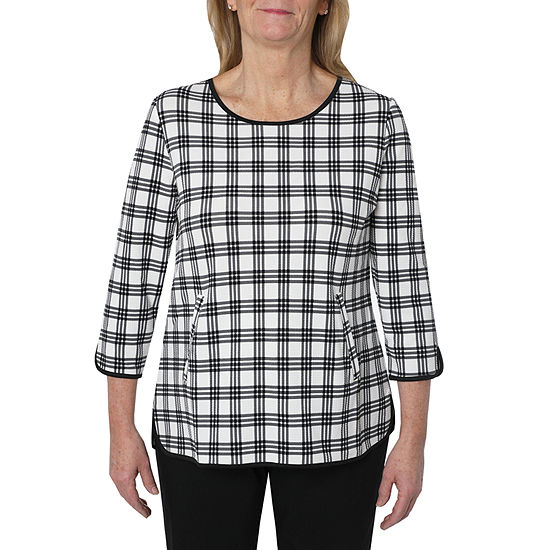 Cathy Daniels Picture Pretty Womens Scoop Neck 3/4 Sleeve Plaid Pullover Sweater