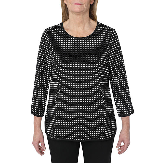 Cathy Daniels Picture Pretty Womens Scoop Neck 3/4 Sleeve Dots Pullover Sweater