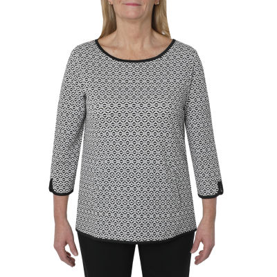 Cathy Daniels Picture Pretty Womens Round Neck 3/4 Sleeve Pullover Sweater