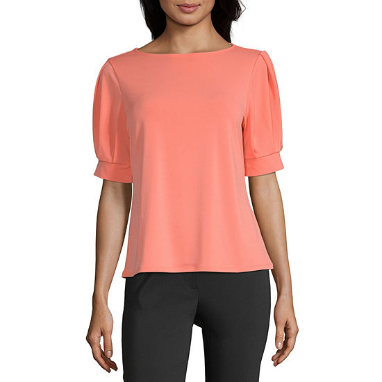 Worthington Womens Pleat Cuff Crew Tee