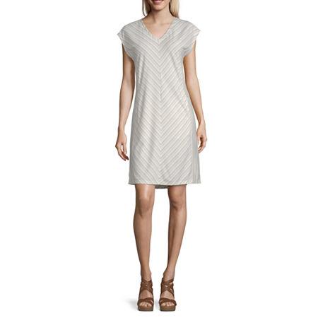 Liz Claiborne Short Sleeve Striped Shift Dress, Xx-large , Beige