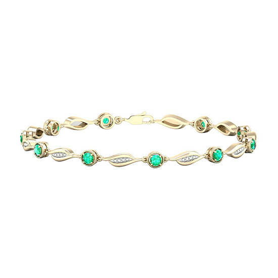 Diamond Accent Lab Created Green Emerald 10K Gold Over Silver 7 Inch Tennis Bracelet