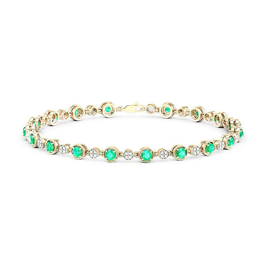 Diamond Accent Lab Created Green Emerald 10K Gold Over Silver Sterling Silver 7 Inch Tennis Bracelet
