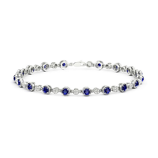 Diamond Accent Lab Created Blue Sapphire Sterling Silver 7 Inch Tennis Bracelet