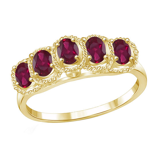 Womens Red Glass-Filled Ruby 5 Stone Ring in Gold Over Silver