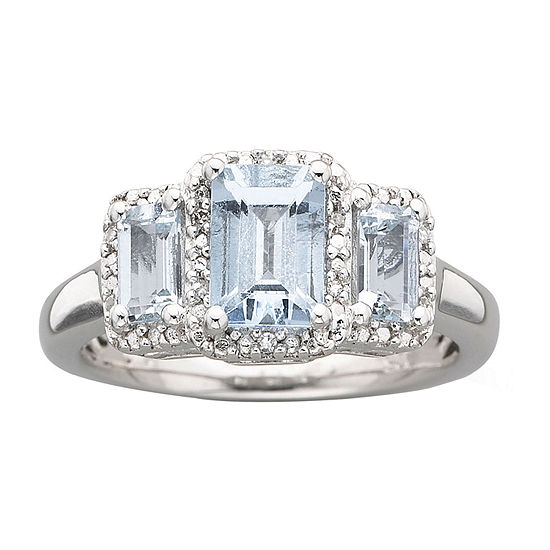 Sterling Silver Genuine Aquamarine & Diamond Accent Ring