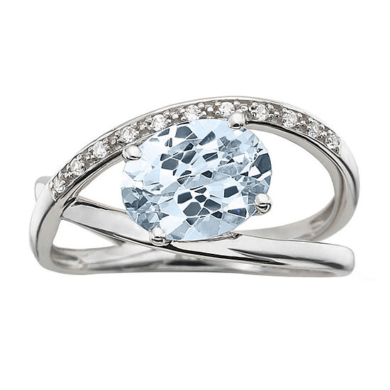 Sterling Aquamarine & Lab-Created White Sapphire Crossover Ring