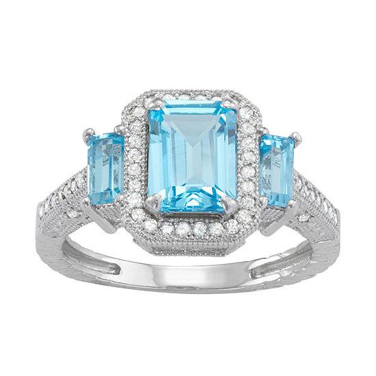 Genuine Swiss Blue Topaz And 1/4 C.T. T.W.Diamond 10K White Gold Ring