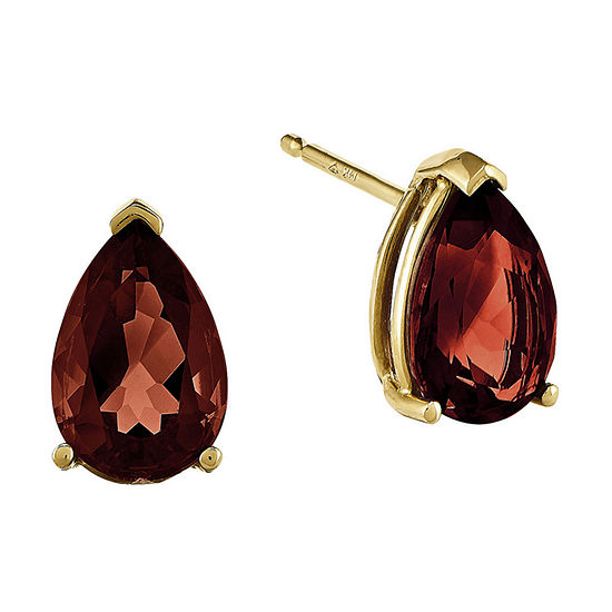 Genuine Red Garnet 14K Yellow Gold Pear-Shaped Earrings