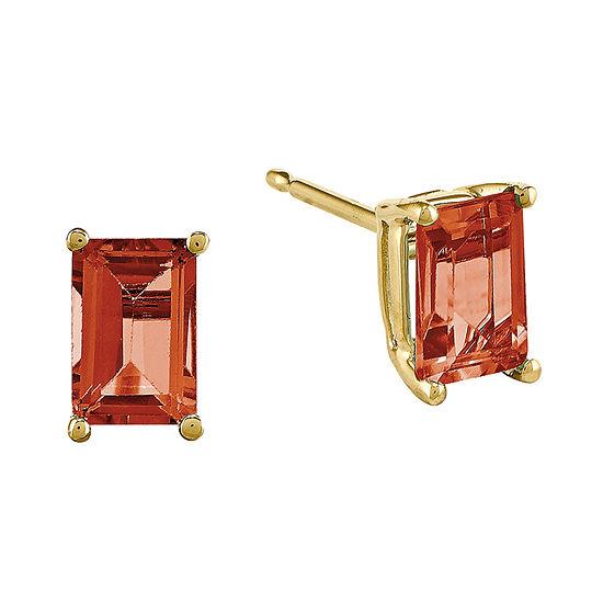 Genuine Red Garnet 14K Yellow Gold Emerald-Cut Earrings