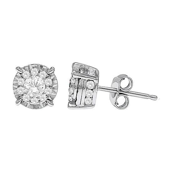 1 CT. T.W. Lab Grown White Diamond 10K White Gold Stud Earrings