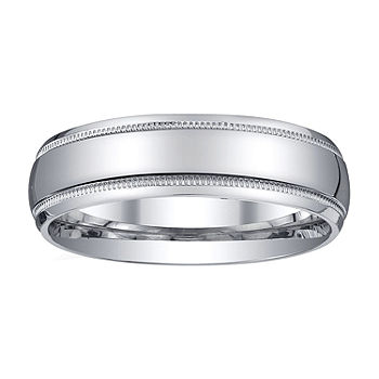 Mens 6mm Sterling Silver Wedding Band Color White Jcpenney