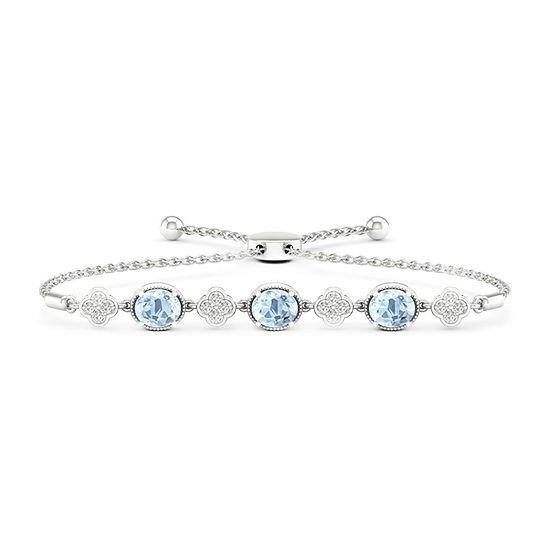 Diamond Accent Genuine Blue Aquamarine 10K Gold Bolo Bracelet