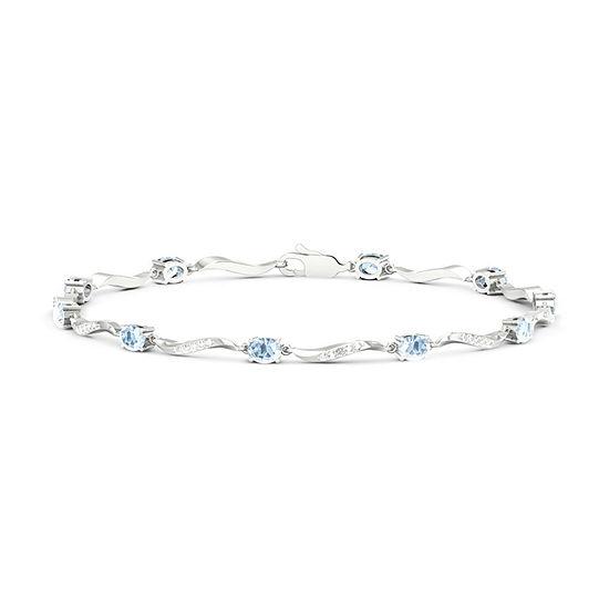 Diamond Accent Genuine Blue Aquamarine Sterling Silver 7 Inch Tennis Bracelet