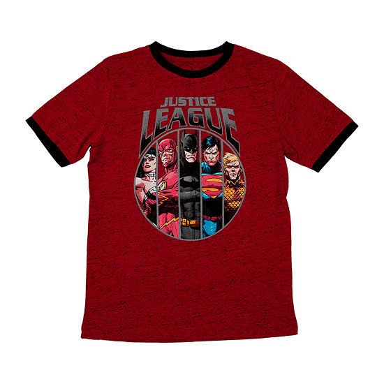 Big Boys Crew Neck Justice League Short Sleeve Graphic T-Shirt
