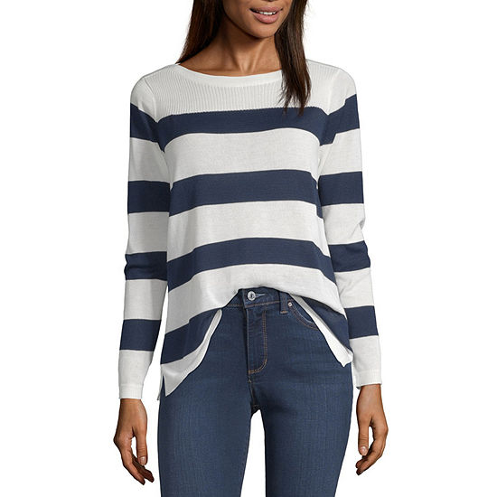Liz Claiborne Simply Womens Boat Neck Long Sleeve Striped Pullover Sweater