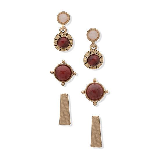 a.n.a Semi Precious 3 Pair Jasper Earring Set