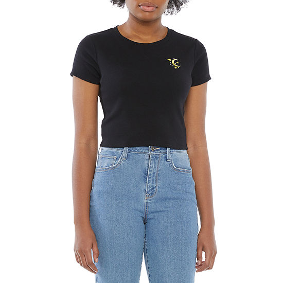 Cut And Paste-Juniors Womens Crew Neck Short Sleeve Graphic T-Shirt