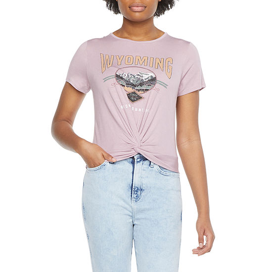 Cut And Paste Juniors Womens Crew Neck Short Sleeve Graphic T-Shirt