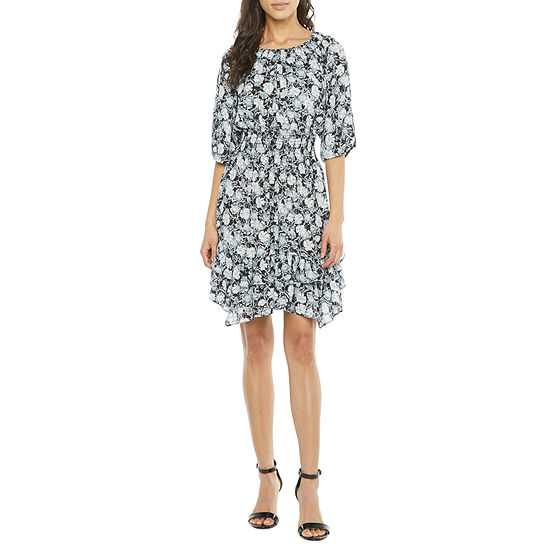 Emma And Michele 3/4 Sleeve Floral High-Low Fit & Flare Dress