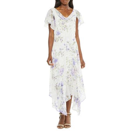 1930s Dresses | 30s Art Deco Dress Robbie Bee Short Sleeve Floral High-Low Fit  Flare Dress 6  White $55.50 AT vintagedancer.com