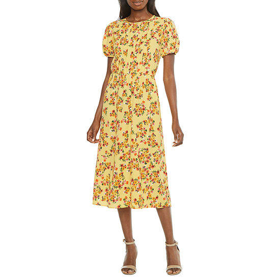 London Style Short Sleeve Floral Midi Fit & Flare Dress