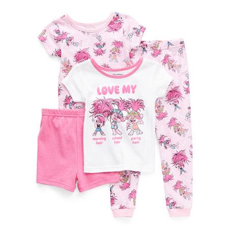 Toddler Girls 4-pc. Trolls Pajama Set, 2t , Pink