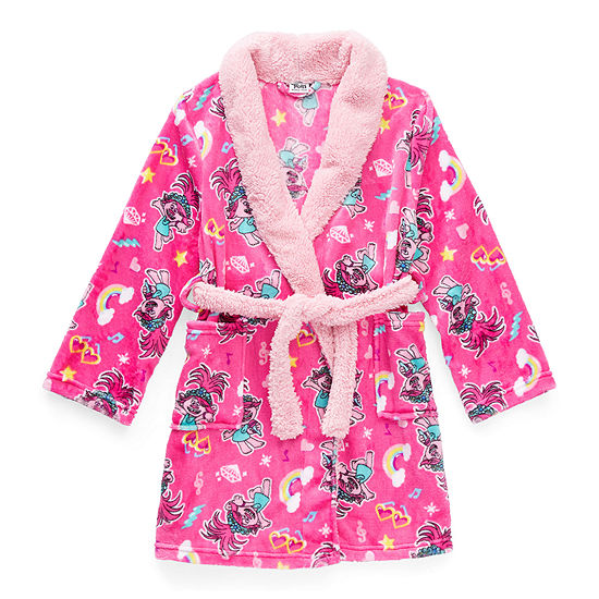 Little & Big Girls Trolls Long Sleeve Mid Length Robe