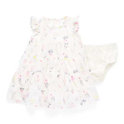 Okie Dokie Baby Girls Short Sleeve Flutter Sleeve Floral A-Line Dress