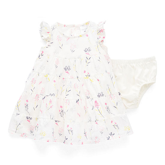 Okie Dokie Baby Girls Short Sleeve Flutter Sleeve Floral A-Line Dress