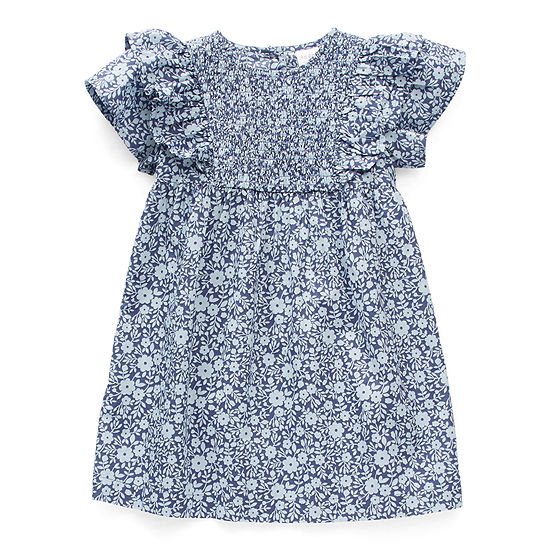 Okie Dokie Little Girls Short Sleeve Flutter Sleeve Shift Dress