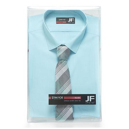 JF J.Ferrar Mens Easy-Care Stretch Long Sleeve Dress Shirt + Tie Set, 17-17.5 32-33, Blue