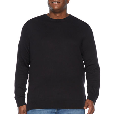 The Foundry Big & Tall Supply Co. Crew Neck Long Sleeve Knit Pullover Sweater, Large Tall , Black