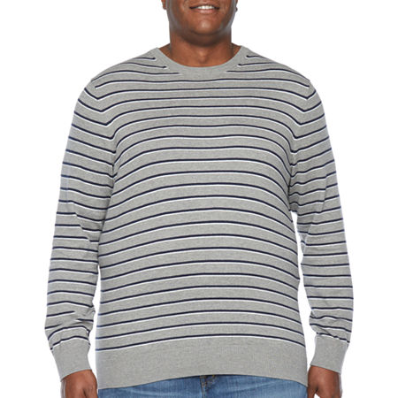 The Foundry Big & Tall Supply Co. Crew Neck Long Sleeve Knit Pullover Sweater, Large Tall , Gray