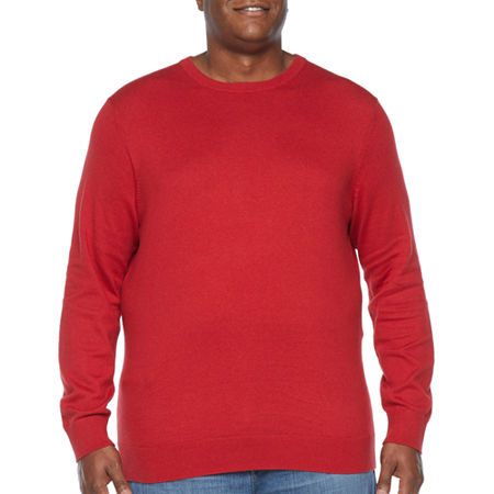 The Foundry Big & Tall Supply Co. Crew Neck Long Sleeve Knit Pullover Sweater, X-large Tall , Red