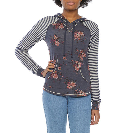 Rewind Juniors Womens Hooded Neck Long Sleeve Sweatshirt
