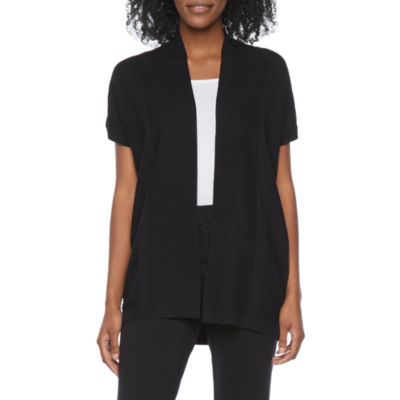 Liz Claiborne Womens Short Sleeve Open Front Cardigan